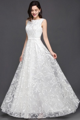 Abendkleider mit Spitze   Abiballkleider Lang Weiß_3
