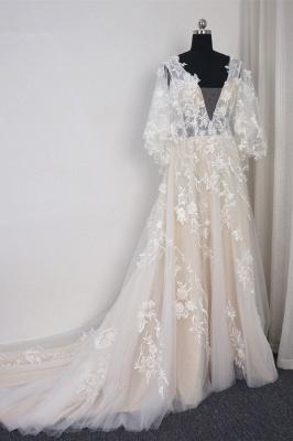 Brautkleider A Linie Spitze | Hochzeitskleid mit Schleppe_3