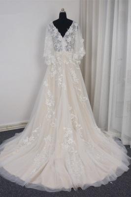 Brautkleider A Linie Spitze | Hochzeitskleid mit Schleppe_2