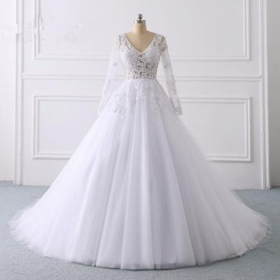 Wunderschöne Hochzeitskleid Langarm | A Linie Brautkleider Spitze_7