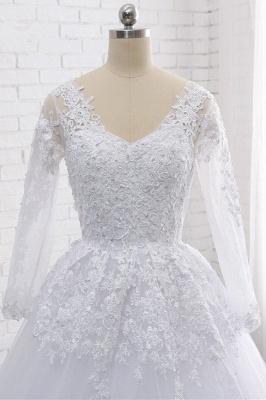 Schlichte Hochzeitskleider Spitze   Brautkleider lange Ärmel_5