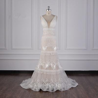 Romantische Hochzeitskleider V Ausschnitt | Brautkleid Spitze_6