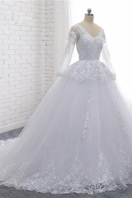 Schlichte Hochzeitskleider Spitze   Brautkleider lange Ärmel_3