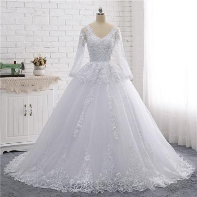 Schlichte Hochzeitskleider Spitze   Brautkleider lange Ärmel_7