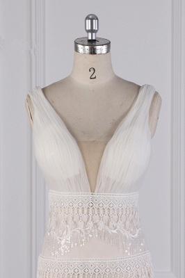 Romantische Hochzeitskleider V Ausschnitt | Brautkleid Spitze_4
