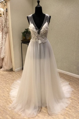 Brautmode Große Größen | Schlichte Hochzeitskleider V Ausschnitt_1
