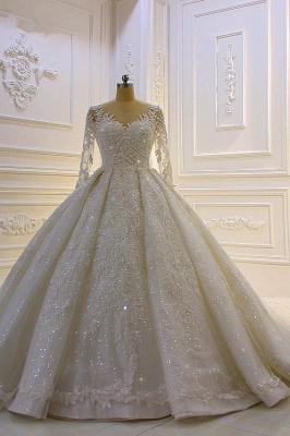 Hochzeitskleid Prinzessin Glitzer | Brautkleider Lange Ärmel_2