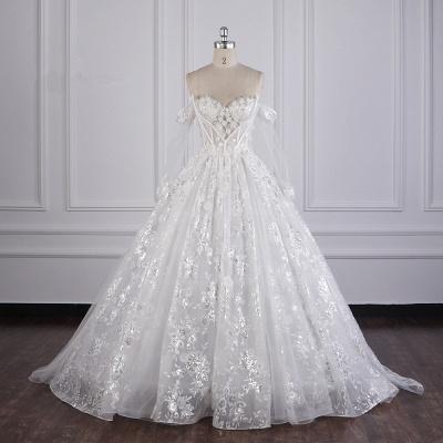 Ausgefallene Hochzeitskleider Lange Ärmel   Brautkleid mit Spitze_7