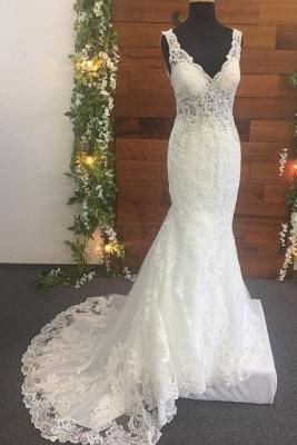 Brautkleid V Ausschnitt Spitze | Designer Hochzeitskleider_1