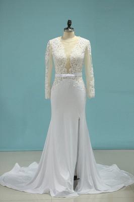 Umstands Hochzeitskleid Meerjungfrau   Hochzeitskleid Spitze Langarm_1