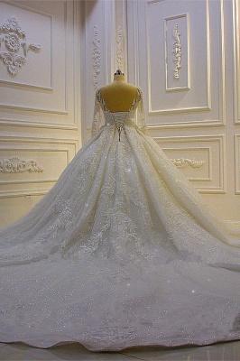 Hochzeitskleid Prinzessin Glitzer | Brautkleider Lange Ärmel_5
