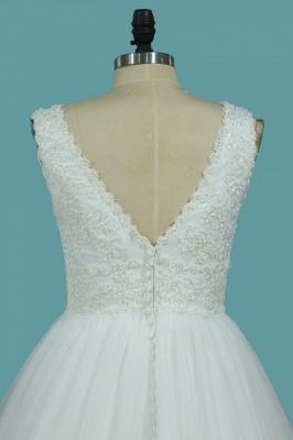 Brautkleider V Ausschnitt | Hochzeitskleider A Linie Spitze_4