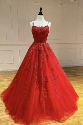 Schlichte Abendkleider Lang Rot | Abiballkleider mit Spitze