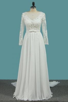 Schlichte Brautkleider mit Ärmel | Hochzeitskleider A Linie_1