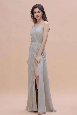 Grau Brautjungfernkleider Lang | Chiffon Kleider Für Brautjungfern_7