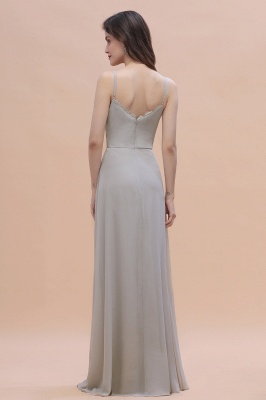 Grau Brautjungfernkleider Lang | Chiffon Kleider Für Brautjungfern_3