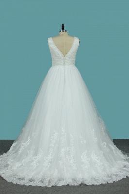Brautkleider V Ausschnitt | Hochzeitskleider A Linie Spitze_2