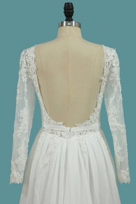 Schlichte Brautkleider mit Ärmel | Hochzeitskleider A Linie_4