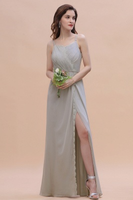 Grau Brautjungfernkleider Lang | Chiffon Kleider Für Brautjungfern_4