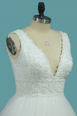 Brautkleider V Ausschnitt | Hochzeitskleider A Linie Spitze_3