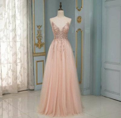 Peach Abendkleider Lang Glitzer | Abendmoden Online Kaufen_2