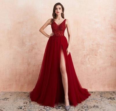Abendkleider Lang Rot   Abiballkleid mit Glitzer_2