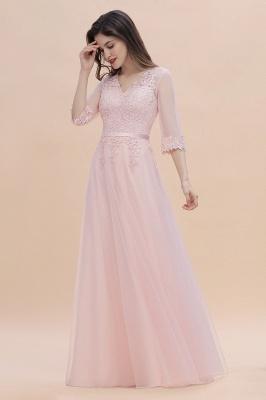 Brautjungfernkleider Lang Rosa | Chiffon Kleider Mit Spitzen Ärmel_4