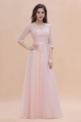 Brautjungfernkleider Lang Rosa | Chiffon Kleider Mit Spitzen Ärmel_7