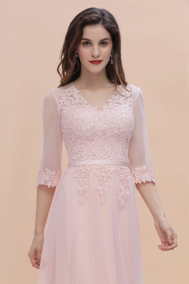 Brautjungfernkleider Lang Rosa | Chiffon Kleider Mit Spitzen Ärmel_8