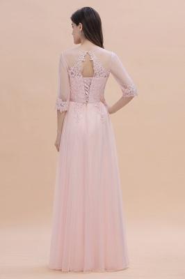 Brautjungfernkleider Lang Rosa | Chiffon Kleider Mit Spitzen Ärmel_3