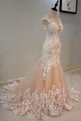 Champagne Brautkleider mit Spitze | Hochzeitskleider Meerjungfrau_3