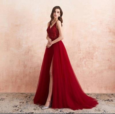 Abendkleider Lang Rot   Abiballkleid mit Glitzer_4