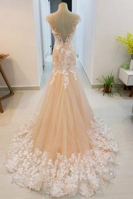 Champagne Brautkleider mit Spitze | Hochzeitskleider Meerjungfrau_2
