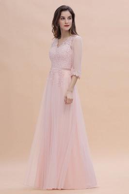 Brautjungfernkleider Lang Rosa | Chiffon Kleider Mit Spitzen Ärmel_6
