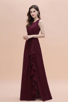 Schlichtes Abendkleid | Brautjungfernkleider Lang Weinrot_9