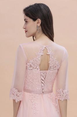 Brautjungfernkleider Lang Rosa | Chiffon Kleider Mit Spitzen Ärmel_9