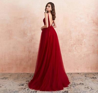 Abendkleider Lang Rot   Abiballkleid mit Glitzer_3