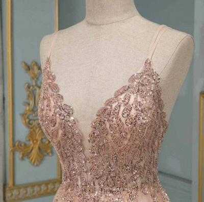 Peach Abendkleider Lang Glitzer | Abendmoden Online Kaufen_4