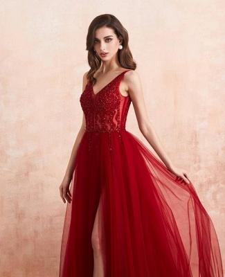 Abendkleider Lang Rot   Abiballkleid mit Glitzer_6
