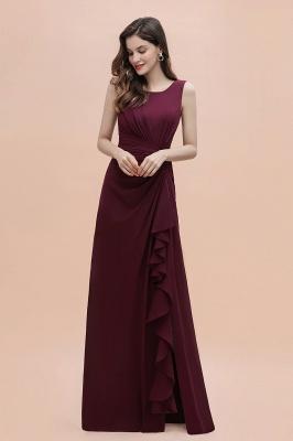 Schlichtes Abendkleid | Brautjungfernkleider Lang Weinrot_6