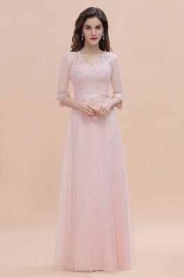 Brautjungfernkleider Lang Rosa | Chiffon Kleider Mit Spitzen Ärmel_1