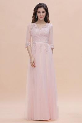 Brautjungfernkleider Lang Rosa | Chiffon Kleider Mit Spitzen Ärmel_5