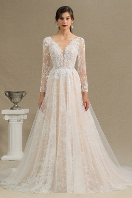 Designer Brautkleid A Linie | Spitze Hochzeitskleider mit Ärmel