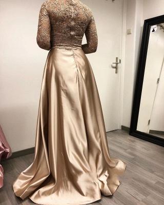 Golden Abendkleider mit Ärmel | Abiballkleider Lang Spitze Günstig_4