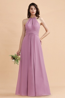 Brautjungfernkleider Lang Rosa | Chiffon Kleider Günstig_1