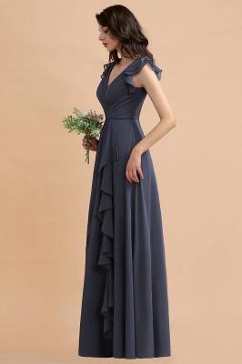 Grey Brautjungfernkleider Lang Günstig   Chiffon Kleider Online_8