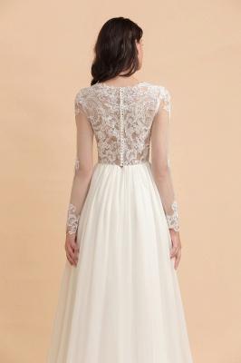Schlichtes Brautkleid A Linie | Hochzeitskleider mit Ärmel_8