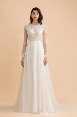 Schlichtes Brautkleid A Linie | Hochzeitskleider mit Ärmel_3