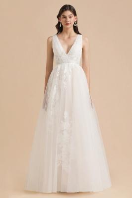 Designer Brautkleid V Ausschnitt | Hochzeitskleider A Linie_3