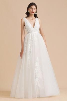 Designer Brautkleid V Ausschnitt | Hochzeitskleider A Linie_6